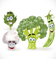 Funny cute vegetables smiles mushroom peas vector image