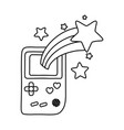 game boy and shooting star black and white vector image vector image