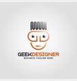 geek designer logo with line art style vector image