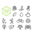green eco friendly environment thin line icon set vector image