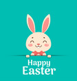 happy easter easter cartoon smiling bunny in a vector image