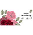 happy valentines day card red roses watercolor vector image vector image