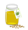 hemp oil n a glass jar isolated on a white vector image vector image