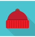 Knitted red cap vector image vector image