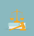 law books with a judges gavel in flat style vector image vector image
