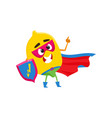 lemon character in superhero costume with shield vector image