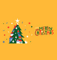 merry christmas friends pine tree together banner vector image