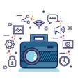 photo camera network multimedia web app icons vector image vector image