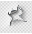 ragged hole torn in ripped steel on transparent vector image vector image