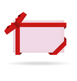 red gift card with ribbon and bow vector image vector image