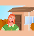 red haired young girl video blogging on the vector image
