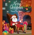 santa christmas fireplace gift bag and presents vector image