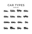 set glyph icons car types vector image