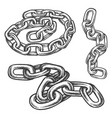 set isolated gray metal chain sketches vector image
