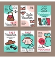 set of discount coupons for woman clothes vector image vector image