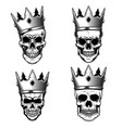 set of human skulls with king crown design vector image