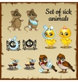 Sick and healthy animals complaints vector image