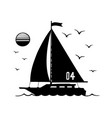 silhouette sailboat sign for sailing vector image vector image