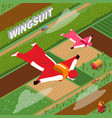 skydivers in wing suit isometric