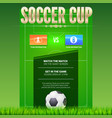 soccer event poster design with green football vector image vector image