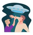 spaceship at sky woman pointing at sky at flying vector image vector image