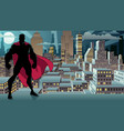 superhero standing night city silhouette vector image vector image