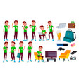 teen boy poses set leisure smile for web vector image vector image