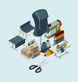textile industry sewing manufactory tools concept vector image