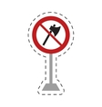 traffic prohibited axe wooden tool weapon pole vector image