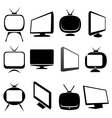 tv icons and signs set vector image vector image