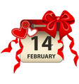 valentines day calendar vector image vector image
