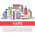 vape accessories set on promotional poster with vector image vector image