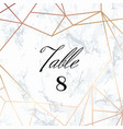 wedding template tented table numbers card vector image vector image