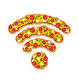 Wi Fi pizza Delicious meal Wireless transmission vector image vector image