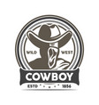 wild west cowboy vintage isolated label vector image vector image