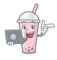 with laptop raspberry bubble tea character cartoon vector image vector image