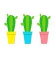 cactus icon in flower pot icon set desert prikly vector image