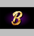 b alphabet letter golden 3d logo icon design vector image