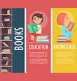 education knowledge and books in brown bookcase vector image
