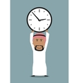 Arabian businessman with office clock above head vector image