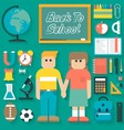 Back to School Flat Icons Set vector image vector image