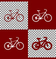 bicycle bike sign bordo and white icons vector image vector image
