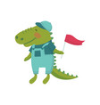 cartoon character of baby crocodile with red flag vector image vector image