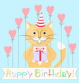 cat happy birthday vector image