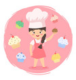 chef cupcakes girl cartoon vector image