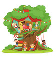 children playing and having fun in the treehouse vector image vector image