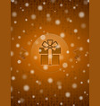christmas snow background with gift and christmas vector image vector image