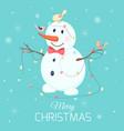christmas snowman character birds lights garland vector image vector image