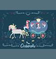 cinderella in carriage fairytale banner vector image