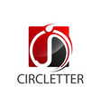 circle square initial letter j logo concept vector image vector image
